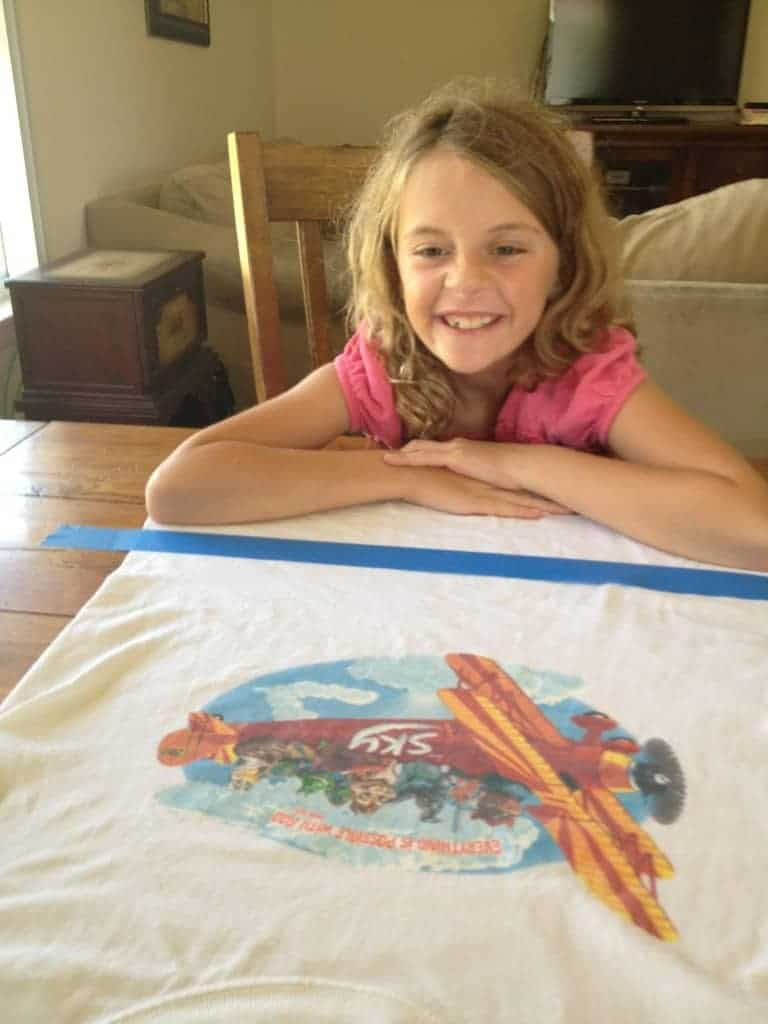 Anna (age 8) with her taped t-shirt