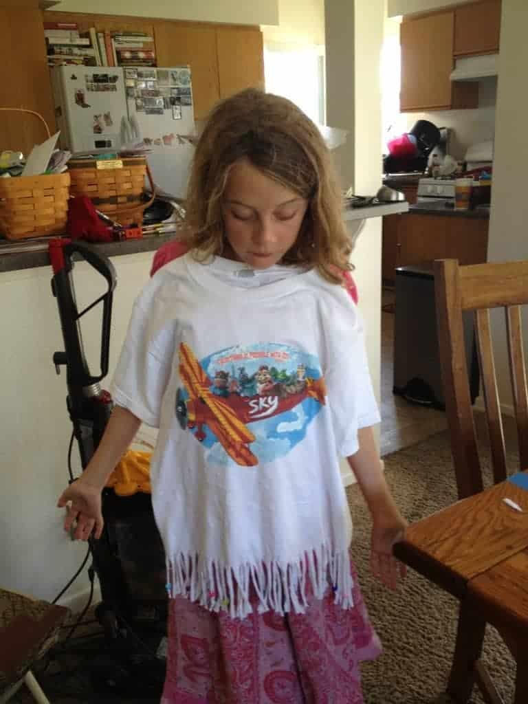 Anna models her new shirt.