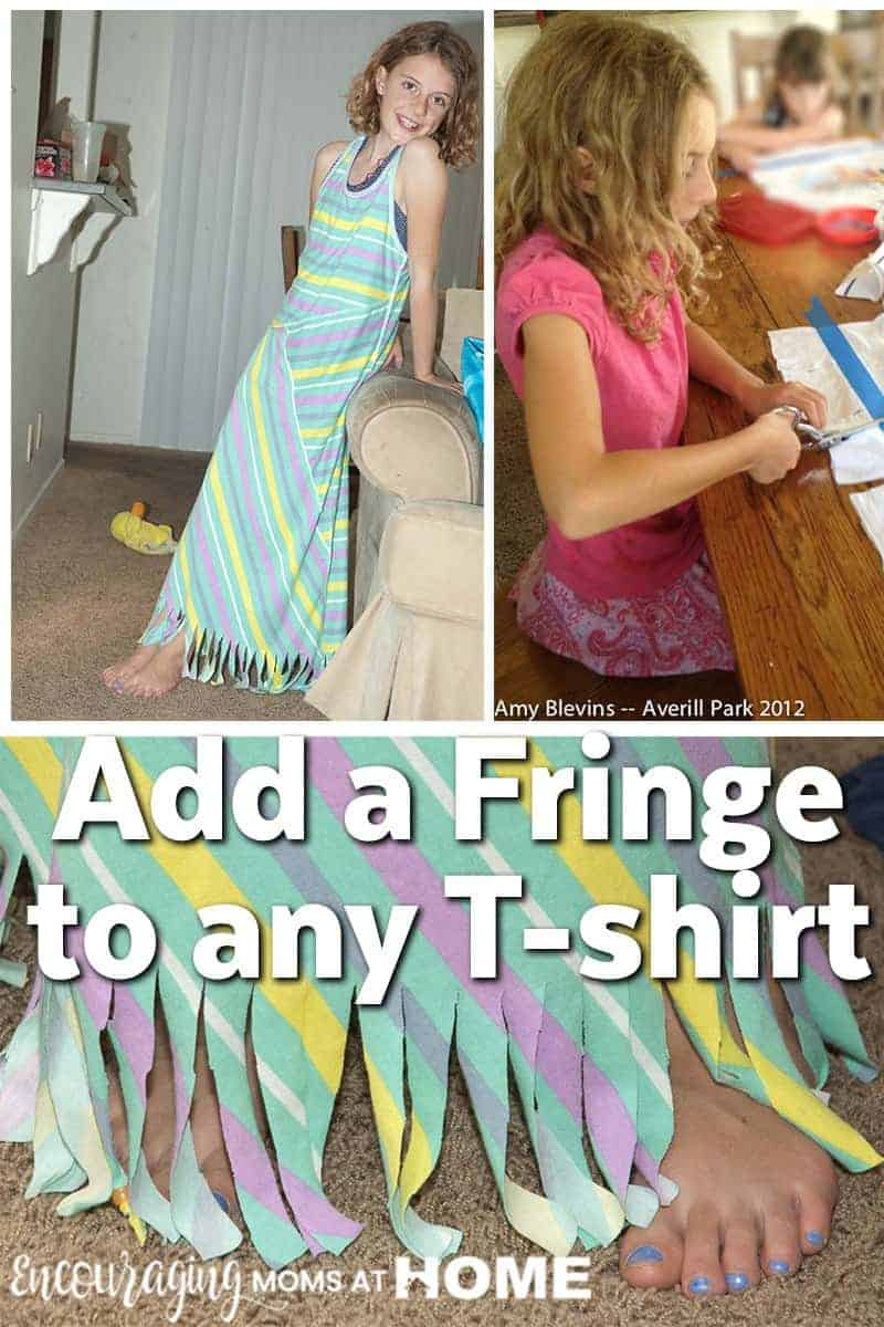 Looking for a fun project to take on with your girls and her friends? Try adding a simple fringe to her shirt. Click over for step by step instructions