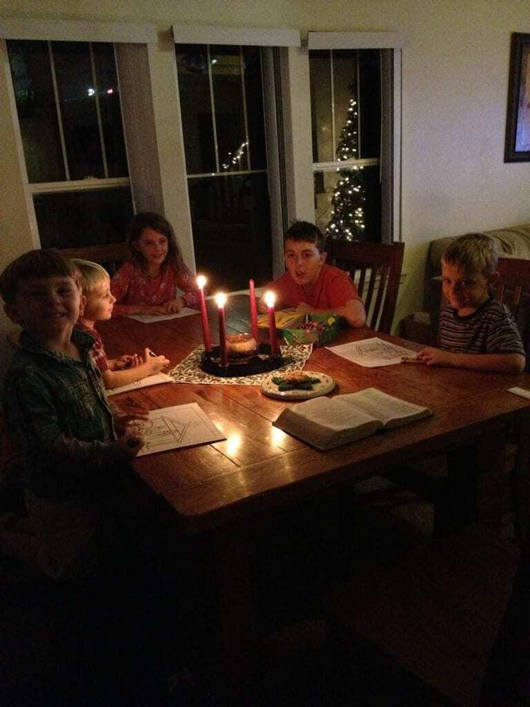 Advent celebration at the Blevins' house