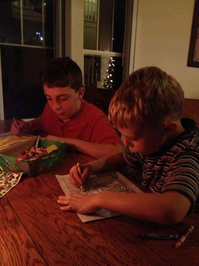 Boys color nativity coloring page