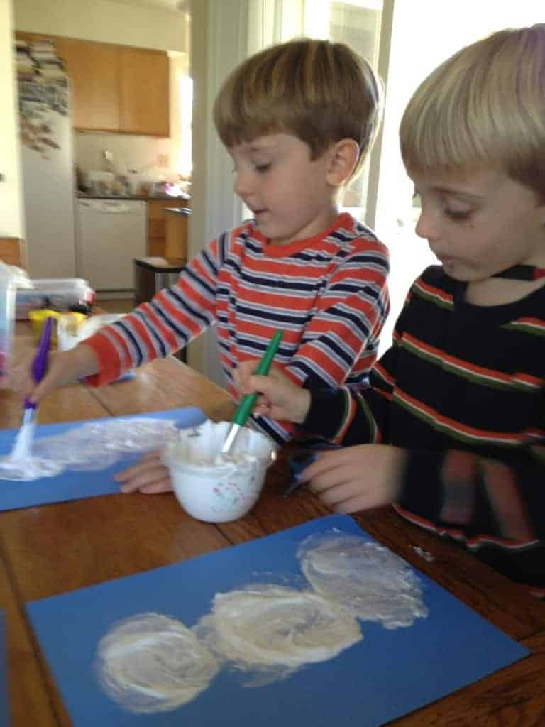 Boys using Puffy Shaving Cream Paint