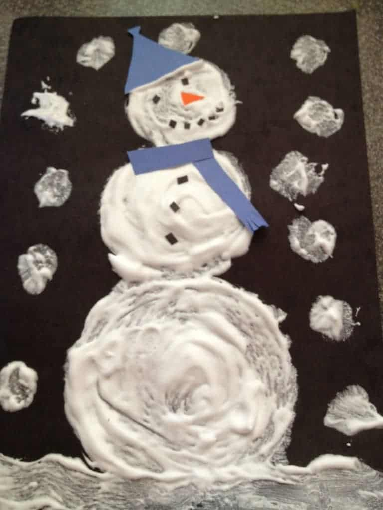How to make a puffy painted snowman with shaving cream for How to paint snowmen