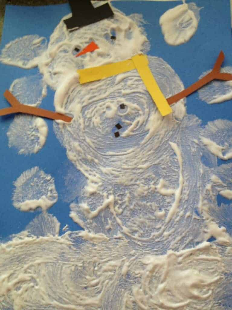 Example of Puffy Shaving Cream Paint Snowman