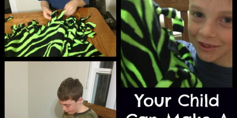 pictures of children making fringe blankets
