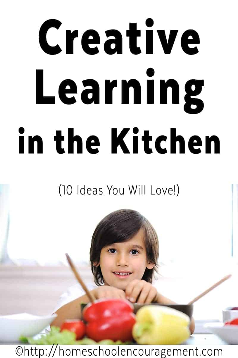 Do you include cooking and baking in your homeschool?  Take a look at these ideas to get creative while teaching your kids in the kitchen.