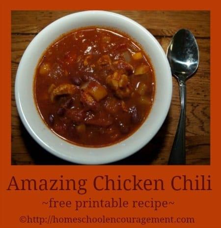 Amazing Chicken Chili with Free Printable recipe
