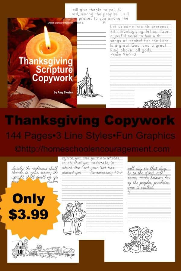 Thanksgiving Copywork of Bible Verses - 144 pages, 5 styles, perfect for handwriting practice!