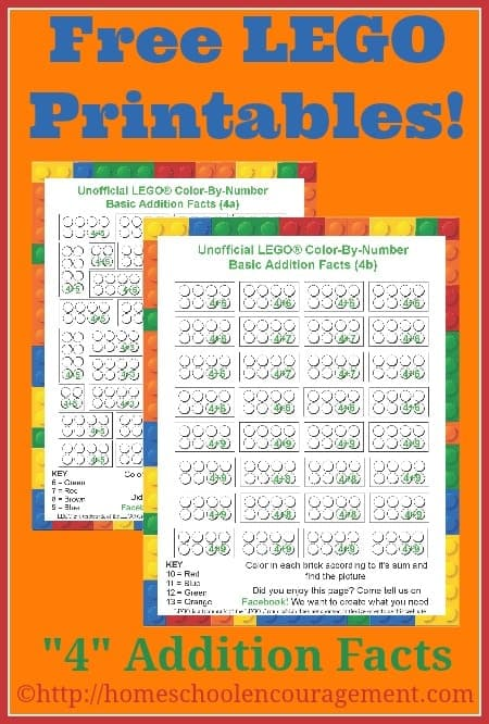 Does your child need help with their 4 addition facts? Check out these free color-by-number printables that explore the fours.