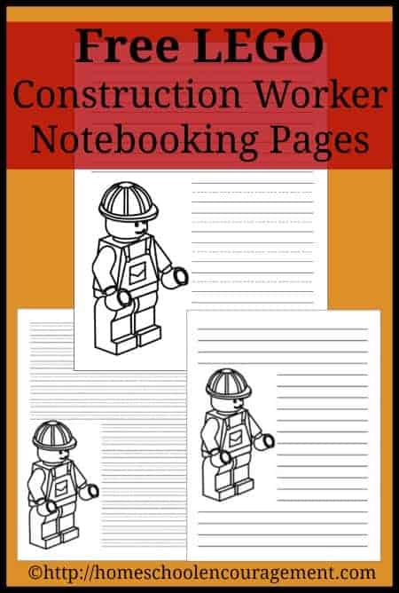 Free LEGO Construction Worker Notebooking Pages Printables from #Homeschool Encouragement