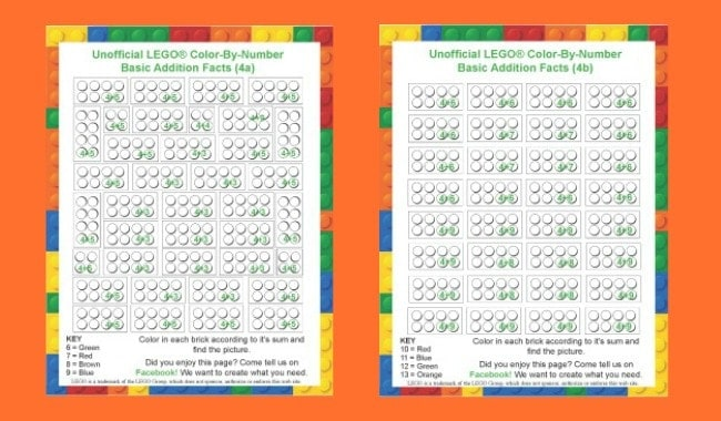 "Free LEGO Printables Weekly: ""4"" Addition Facts Color-By-Number"