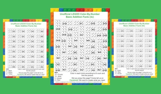 LEGO Free Printables Weekly - LEGO Color-By-Number worksheets for the three facts.
