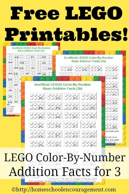 Working on addition facts? Trying to conquer the 3's? Here are FREE LEGO Color-By-Number printables for the 3's Facts