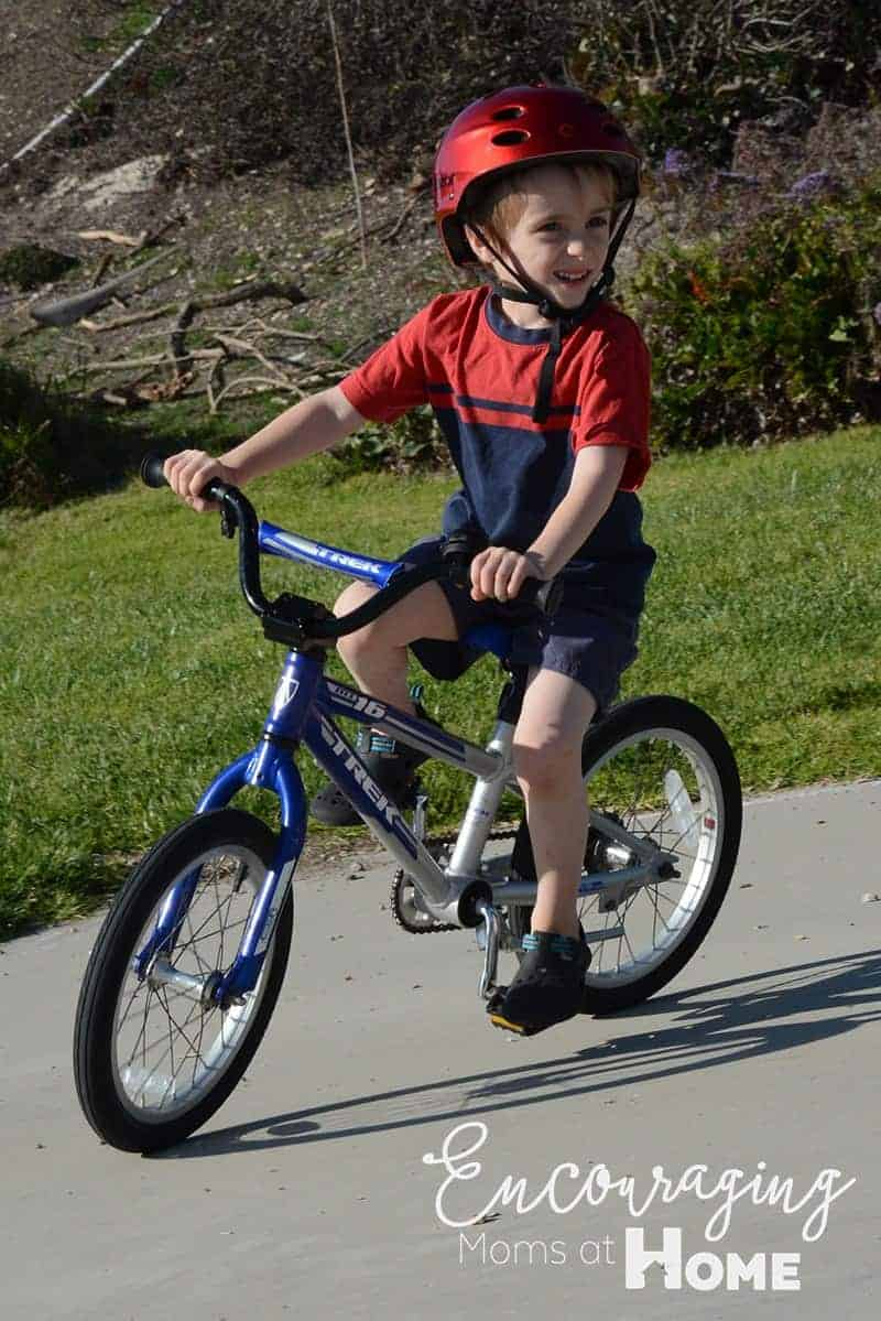 Peter Riding his bike successfully.