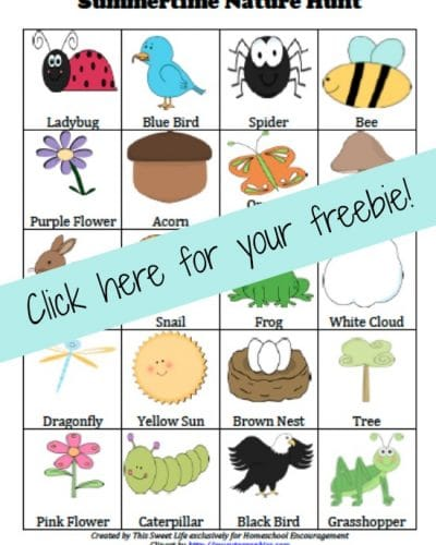 FREE Nature Scavenger Hunt Printable | encouragingmomsathome.com