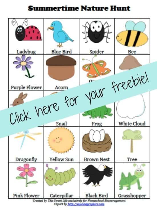 FREE Summertime Nature Scavenger Hunt Printable | encouragingmomsathome.com