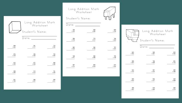 Free Minecraft Worksheets: Long Addition