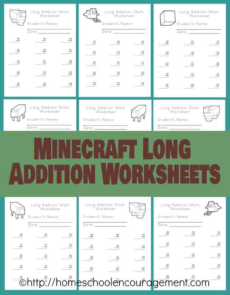 Minecraft Long Addition Worksheets for your Minecraft happy student