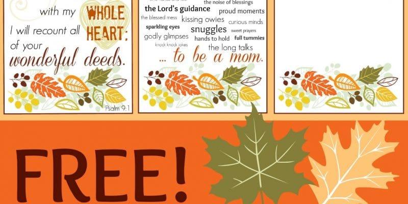 Thanksgiving Printables for Moms