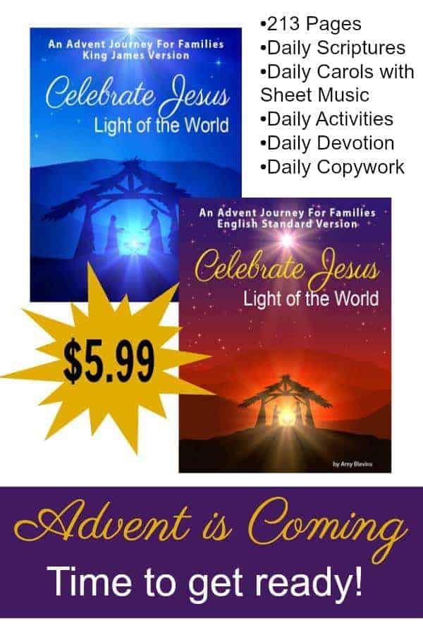 Advent is Coming! Our Daily Reading Guide includes Scriptures, Songs, Sheet Music, Daily Devotions, Activities, Supply List, Recipes, and Copywork!  Keep Christ in Christmas #christinchristmas #advent