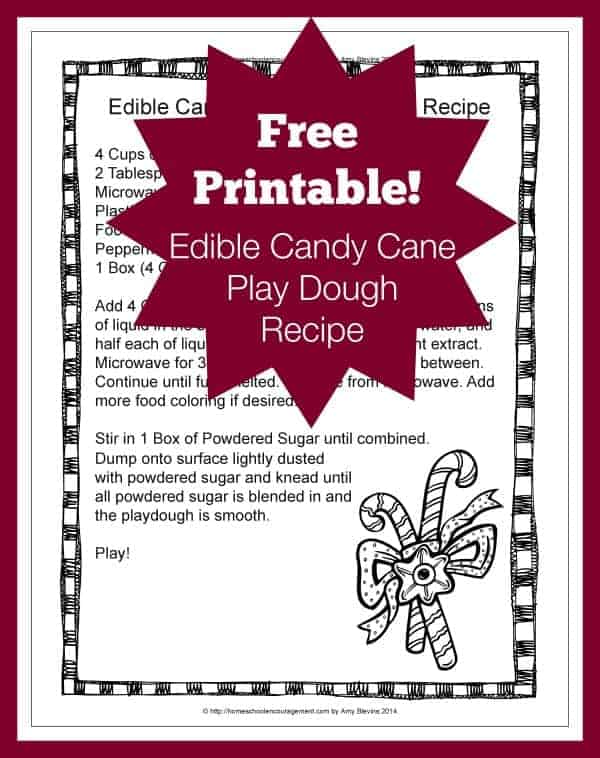 Edible Candy Cane Playdough Also Known As Peppermint With A Free Printable Recipe
