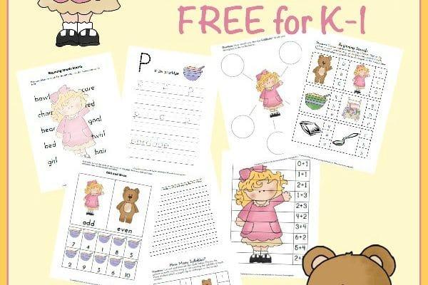 Goldilocks & the Three Bears Free Printable