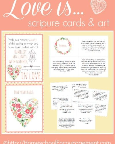 Focus on a biblical perspective of love with these scripture cards and poster printables