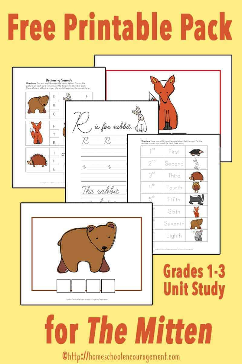 The Mitten Unit Study and Free Printable for Grades 1-3