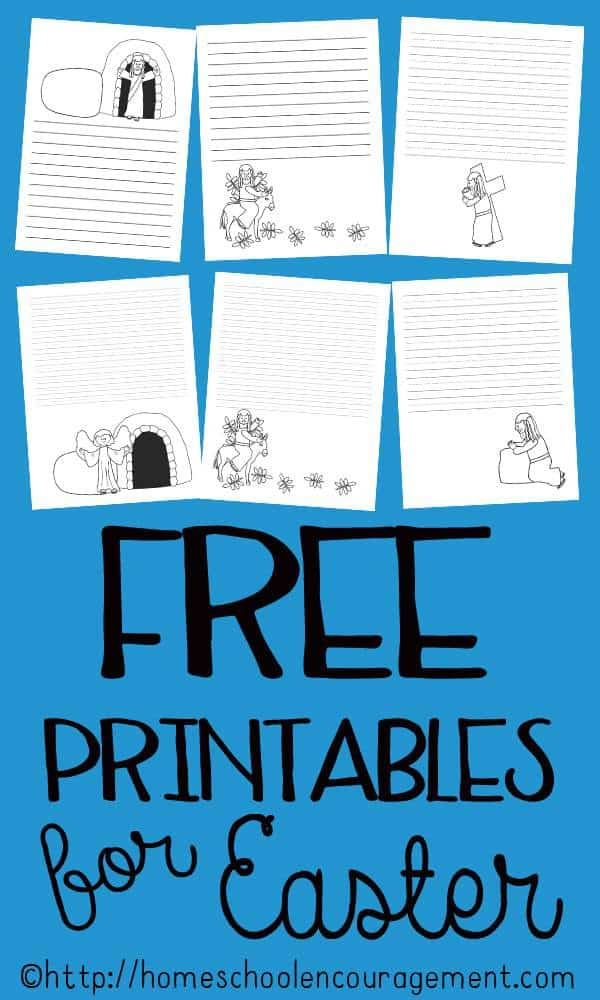 30 Free Printable Pages of writing paper with Passion Week scenes for your Easter Celebration. Free Easter Printables. Resurrection Day.
