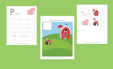 Down on the Farm Free Printables for Kids