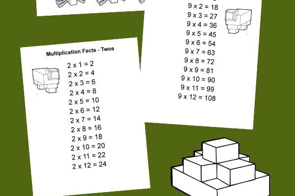 Free Minecraft Printable Multiplication Table and multiplication chart for each number 1-12