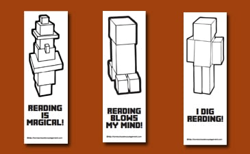 Free Minecraft Printables for Reading: Bookmarks, Reading Logs, and Book Reports