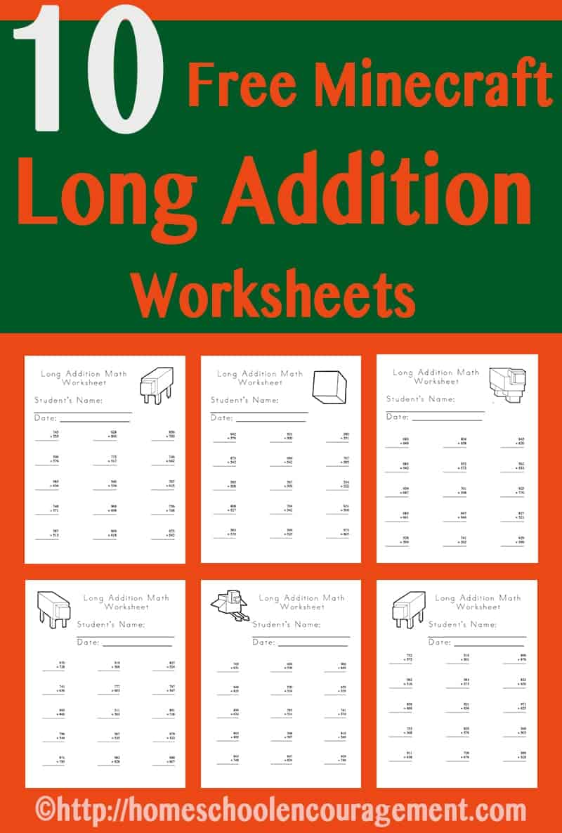 Are you looking for a fun incentive to help your child learn long addition? Try out our FREE Minecraft worksheets!