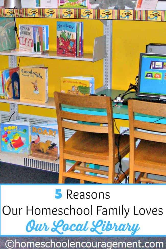 If you have homeschoolers, the Local Library is likely one of your most valuable resources.  In case you have not tapped into all your library has to offer, take a look at my 5 reasons why we love our local llibrary.  Here's a hint: audiobooks, computer games, library cards, activities, storytime, classes, and so much more!!