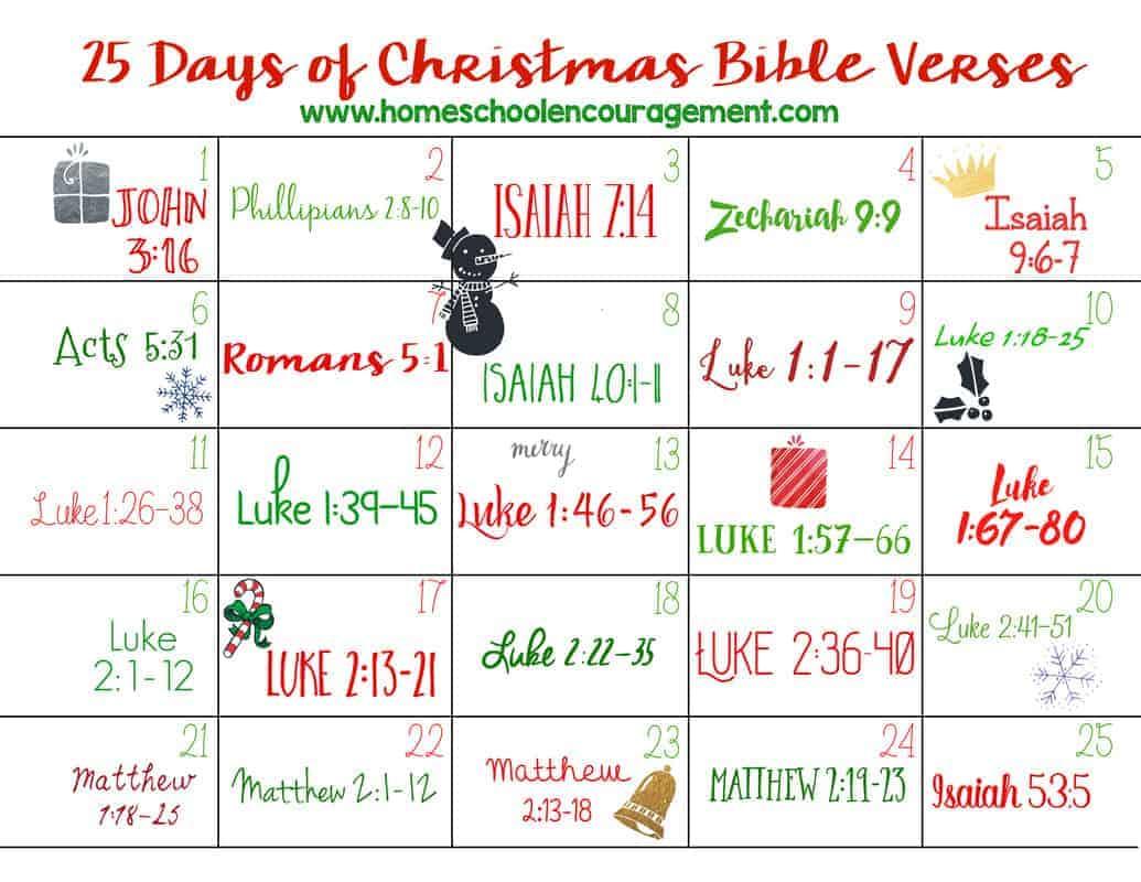 Christmas Bible Verses For Cards Kids Kjv Daughter And: 25 Days Of Christmas Bible Verses