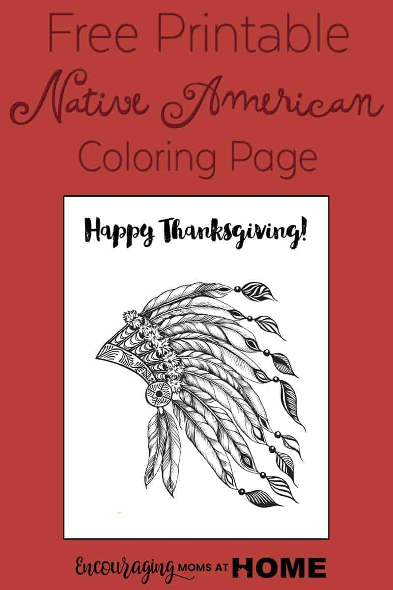 Free Printable Thanksgiving Coloring Pages - Native American Head ...