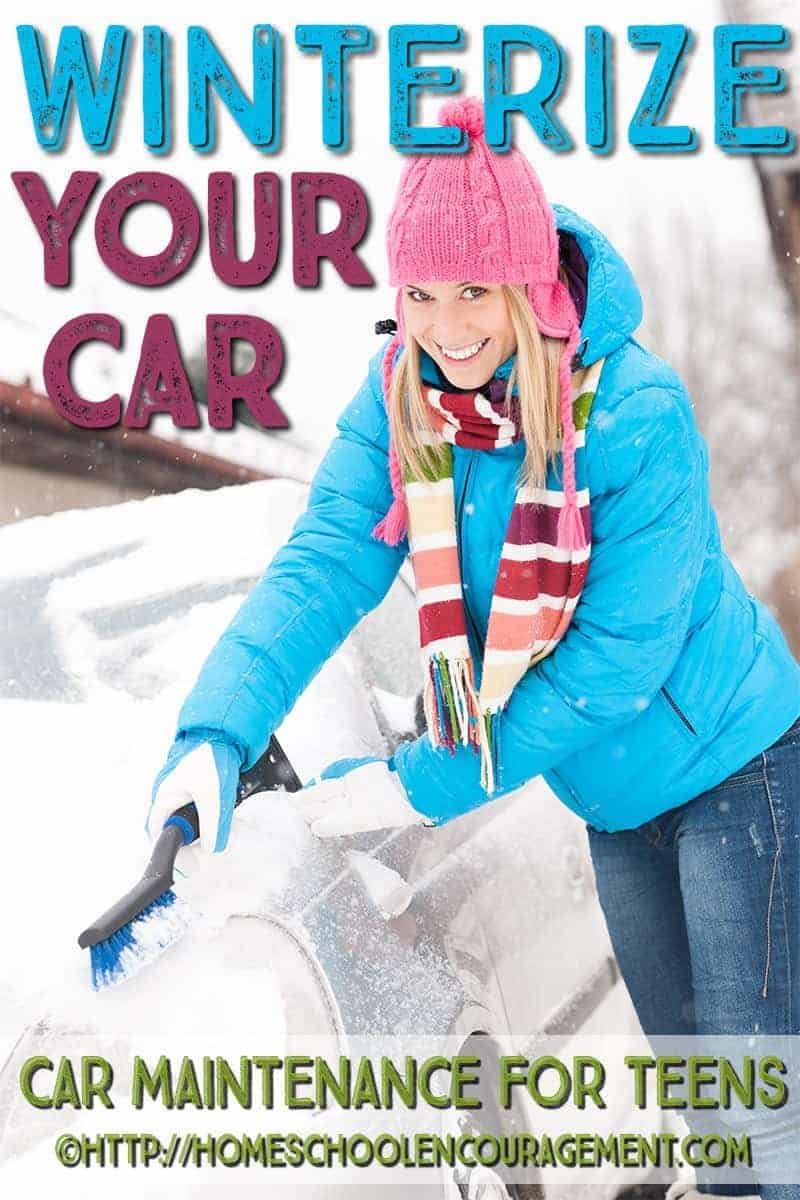Vehicle maintenance is a necessary life skill for our teens to learn. If you live where cold weather is likely, certain things must be done to make sure your car is safe to drive in the cold on snow, ice, and in winter emergencies. Take a look at this post to learn winter safety tips, steps to winterize your car (with a FREE printable), and we include tips on how to create a winter emergency car safety kit.