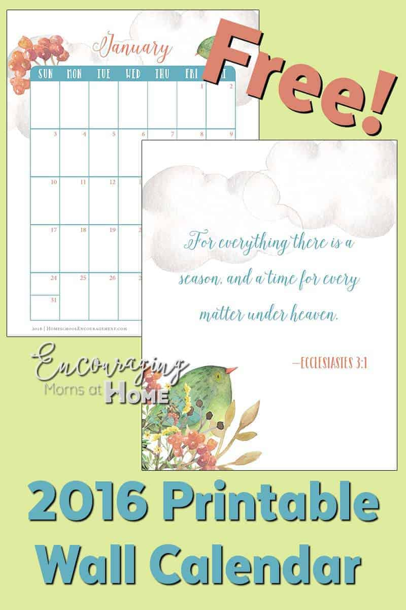 Free Printable Wall Calendar 2016, with Bible verses