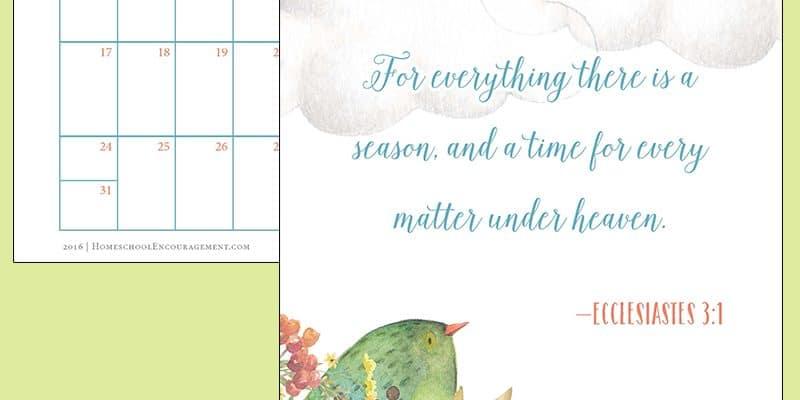 Free 2016 Printable Calendar of Bible Verses