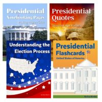The Presidential Unit Study set includes everything you need to teach your children about the Presidents and the upcoming election. With 410 pages, the total retail value of this set is $29.95. Beautiful flashcards with facts about each presidents, carefully chosen quotes for each president as copywork in five line styles, notebooking pages for all ages, and a straightforward explanation of the election process — all included!
