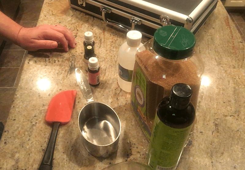Ingredients for Lavender Mandarin Essential Oil Sugar Scrub