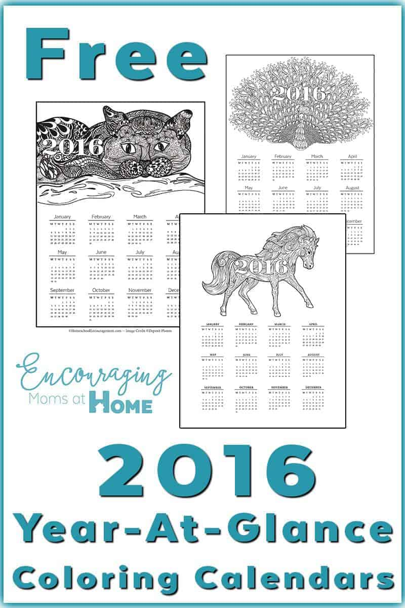 2016 year at a glance free calendar moms