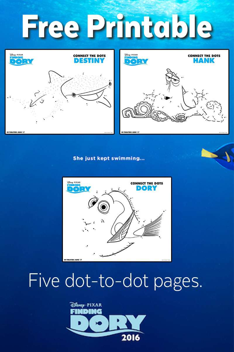 finding dory dot to dots free printable