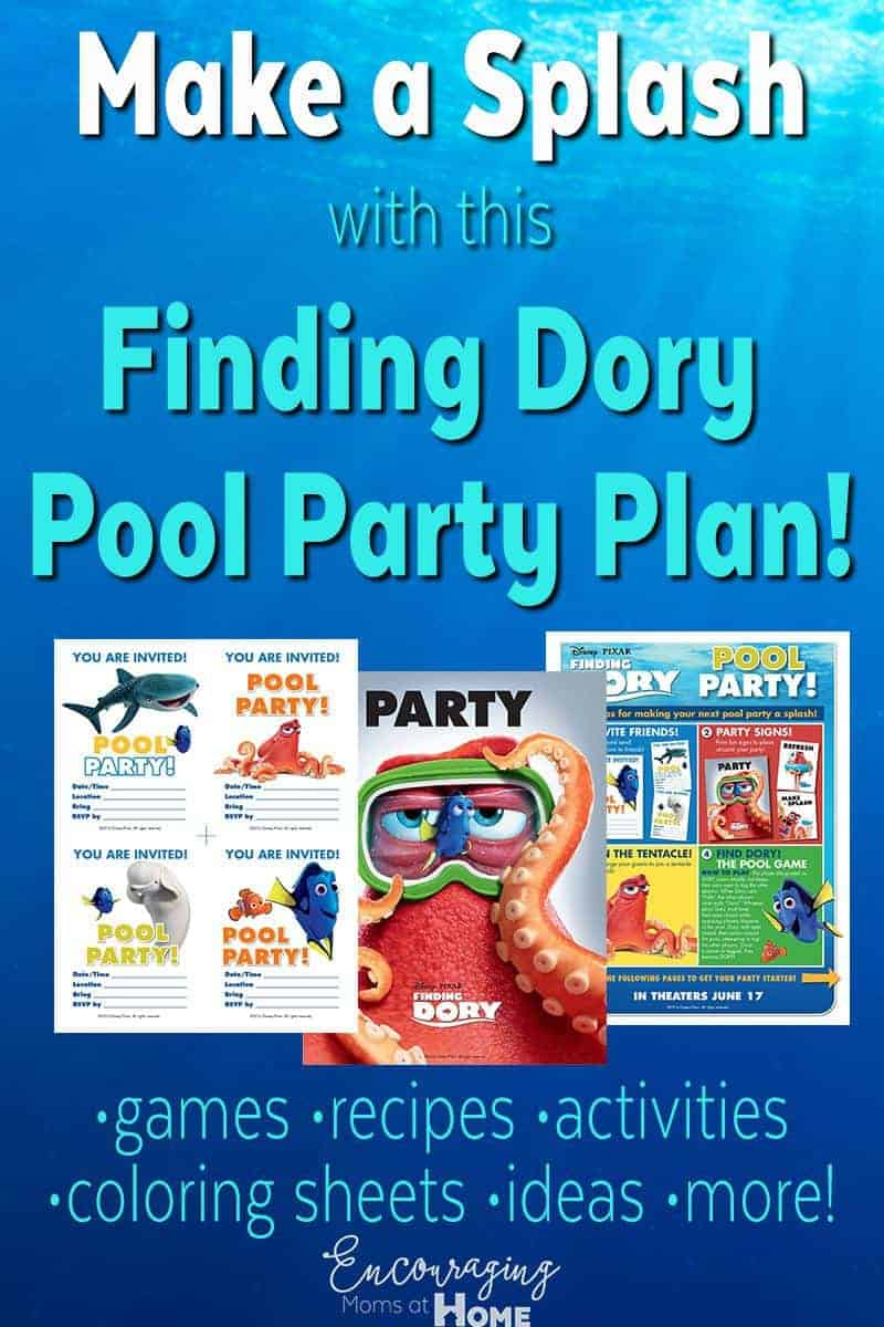 Planning a Pool Party for your Finding Dory fan this summer?  Try our FREE Pool Party Printable Pack that has ideas for food, games, activities and more.