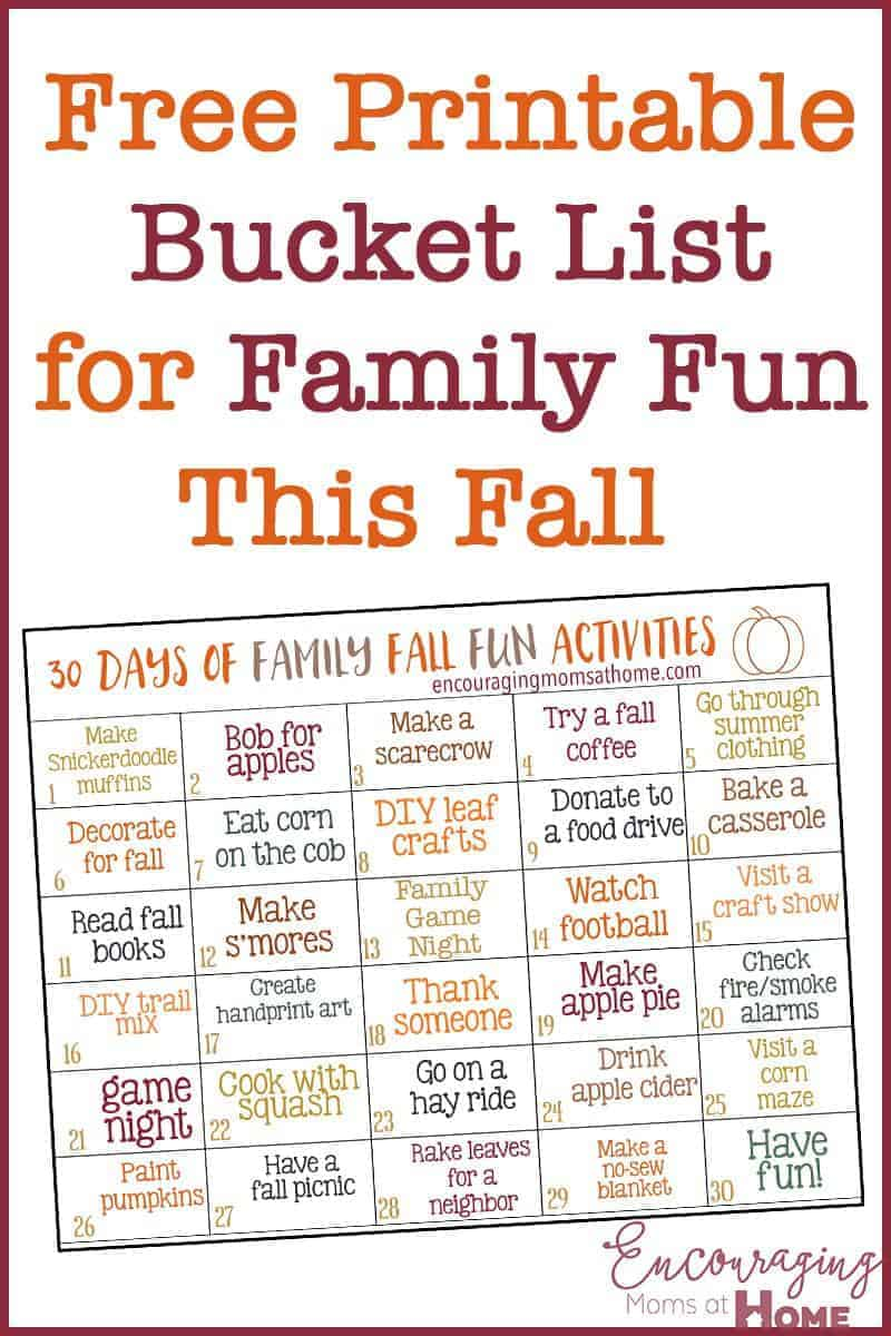 Do you love fall? Are you looking for activities for your family to enjoy both indoors and outside? Here are 30 days of fun family fall activities, with a free printable!
