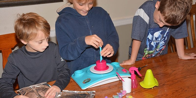 Boys getting started with the Pottery Cool Kit