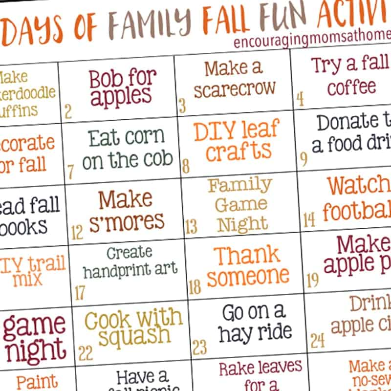 30 Days of Family Fun Fall Activities for Kids and Families