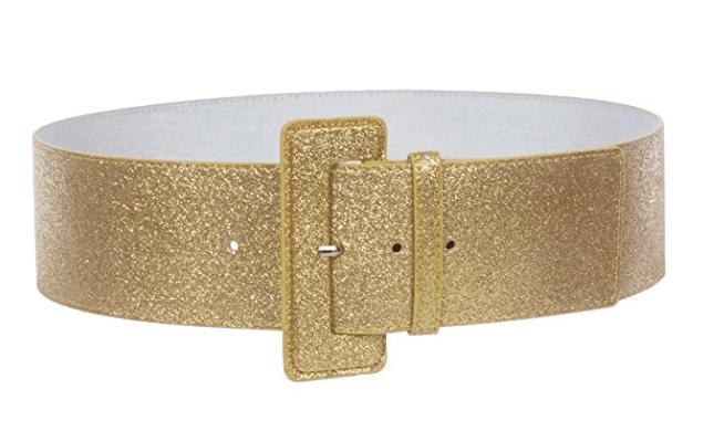 Gold belt for holiday shine.