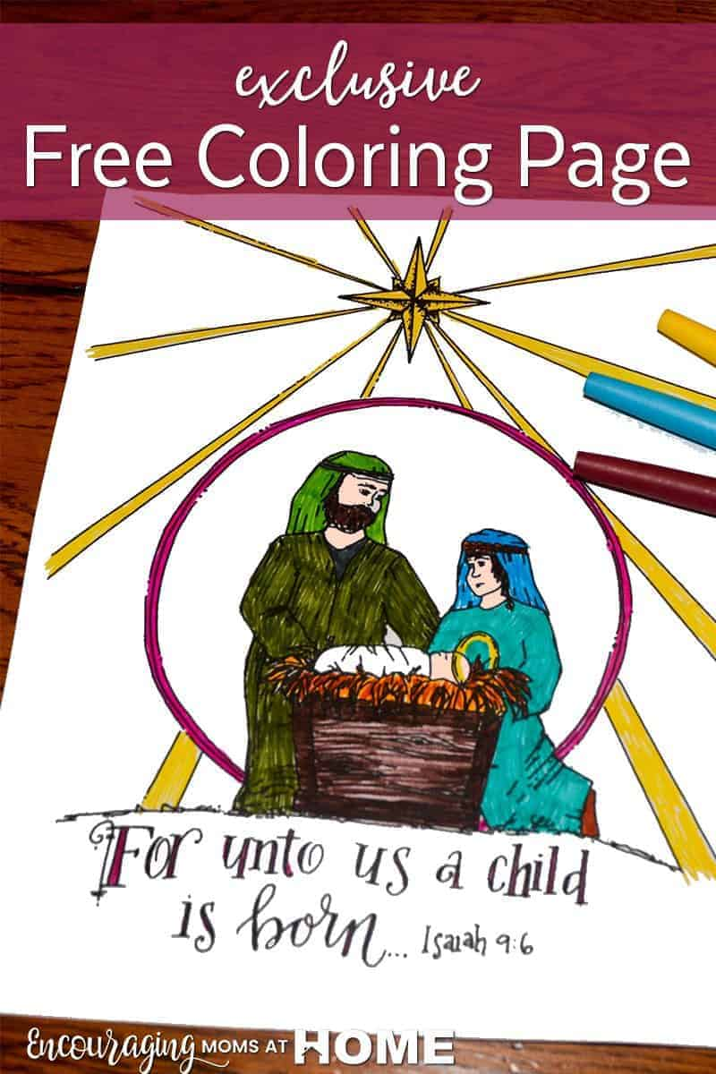 Exclusive Free Nativity Coloring Page