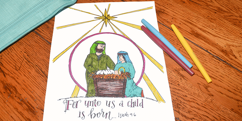 Christian Free Nativity Coloring Page for Christmas